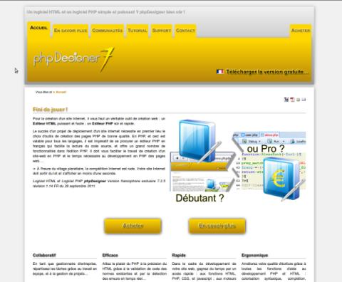 Site web phpdesigner.fr 2011