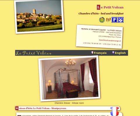 Page web d'accueil Le Petit Volcan 2011