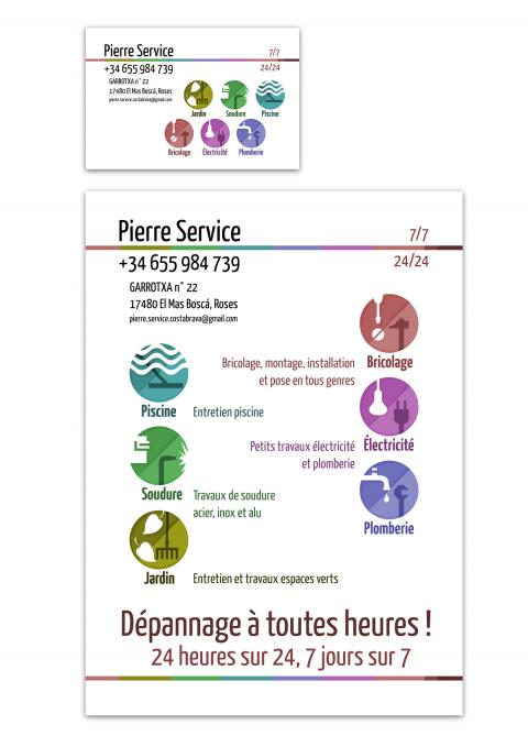 Maquette carte de visite et flyer Pierre Service